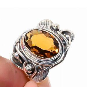 Smoky Quartz Vintage Style Bali 925 Silver Ring 7